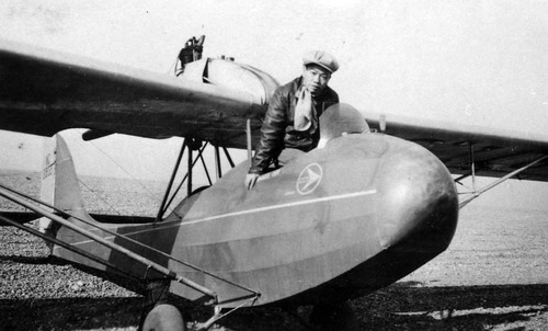 Frank Louie, one of the earliest pilots of Chinese ancestry, at the Ogden, Utah airport in 1933. Photo Courtesy Utah State Historical Society