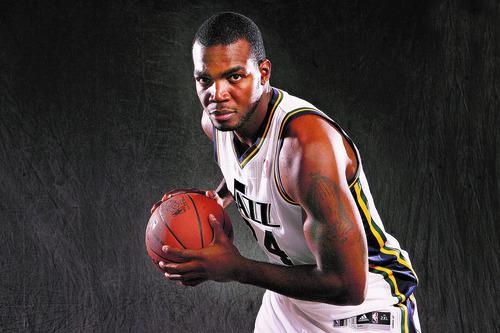 Scott Sommerdorf  |  The Salt Lake Tribune              Portrait of Utah Jazz player Paul Millsap, Thursday, October 11, 2012.