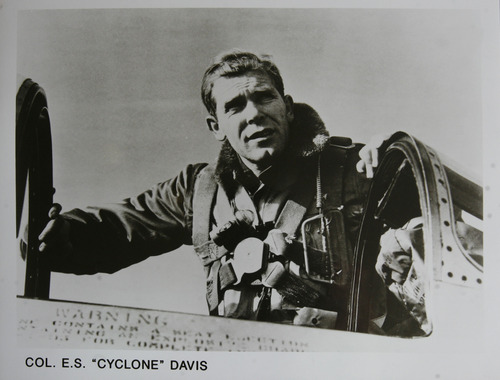 "Scott Sommerdorf  |  The Salt Lake Tribune               A photo of Emmett ""Cyclone"" Davis, from the 1960s. Davis, a native of Roosevelt, was a young pilot in the Army Air Corps, based at Wheeler Field in Hawaii, when the Japanese attacked Pearl Harbor on Dec. 7, 1941. He was one of the few pilots able to get into the air in an attempt to defend Pearl Harbor. He is now 93 (94 this month) and lives in his own home with his wife, Majorie. His son, Tucker, is writing a biography of his father."
