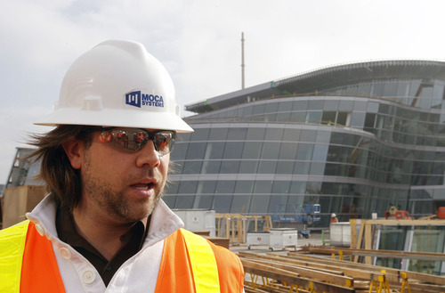 Al Hartmann     The Salt Lake Tribune Chad Jones, project manager for the new Salt Lake City Public Safety Building at the corner of 300 East and 500 South, leads a media tour of the building Thursday, Dec. 6, 2012.