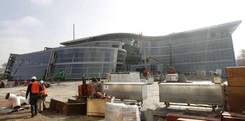 Al Hartmann  |  The Salt Lake Tribune The new Salt Lake City Public Safety Building at the corner of 300 East and 500 South, shown on Thursday, is about 75 percent complete.
