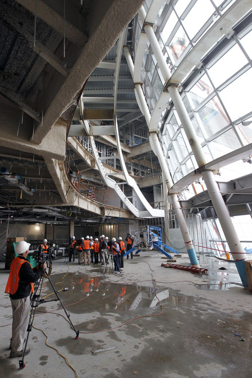 Al Hartmann  |  The Salt Lake Tribune Media take a tour of the new Salt Lake City Public Safety Building at the corner of 300 East and 500 South which is about 75 percent complete on Thursday, Dec. 6, 2012. This view is of the atrium lobby on the west side.
