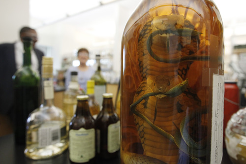 In this Thursday, April 19, 2012 photo, a bottle of snake liquor is seen on a lab bench at the U.S. Department of Treasury's Alcohol and Tobacco Tax and Trade Bureau, in Beltsville, Md.  The bureau, which collects taxes on booze and smokes and tells the companies that produce them how to do business, is one example of the specialized government offices threatened by Washington's current zeal for cost-cutting. (AP Photo/Charles Dharapak)