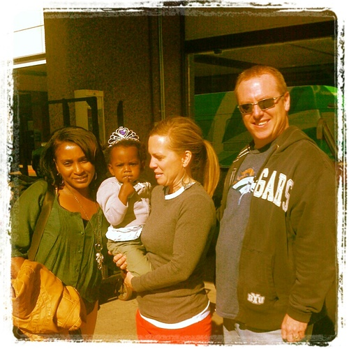 Tira Bland with Leah and Kristi and Jared Frei, her daughter's adoptive parents.. Courtesy image