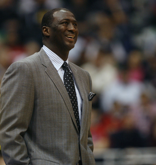 Rick Egan  | The Salt Lake Tribune   Utah Jazz head coach Tyrone Corbin smiles after an odd call by the officials, in NBA action. The Los Angeles Clippers beat the Jazz 105-104, in Salt Lake City, Monday, December 3, 2012.