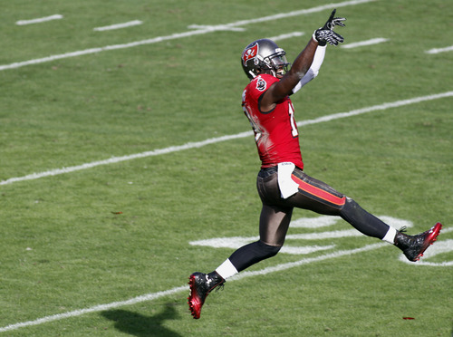 Tampa Bay Buccaneers wide receiver Mike Williams (19) celebrates after his third quarter touchdown against the Philadelphia Eagles during  NFL football game Sunday, Dec. 9, 2012, in Tampa, Fla. (AP Photo/Reinhold Matay)