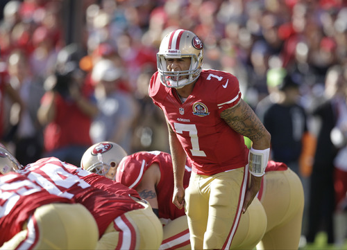 San Francisco 49ers quarterback Colin Kaepernick during the first quarter of an NFL football game against the Miami Dolphins in San Francisco, Sunday, Dec. 9, 2012. (AP Photo/Ben Margot)