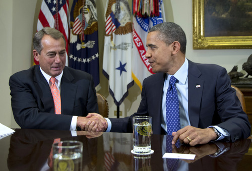 The report said that should the nation's political leaders, including House Speaker John Boehner and President Barack Obama, fail to resolve their deadlock and construct a long-term plan to address the country's budgetary problems, the results will have immediate and damaging effects on Utah's economy. (AP Photo/Carolyn Kaster, File)