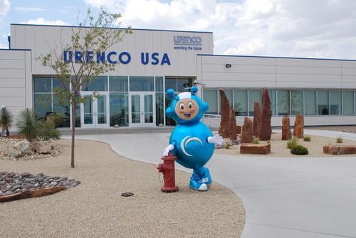 courtesy photo Richie Enrichment, the mascot of Urenco, stands his post outside the Eunice, N.M., headquarters of Urenco.