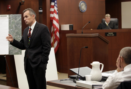 Defense Attorney Glen Neeley makes his opening arguments during a trail for Skyler Shepherd at the 2nd District Courthouse in Ogden on Monday, December 10, 2012.  (KERA WILLIAMS/ Standard-Examiner)