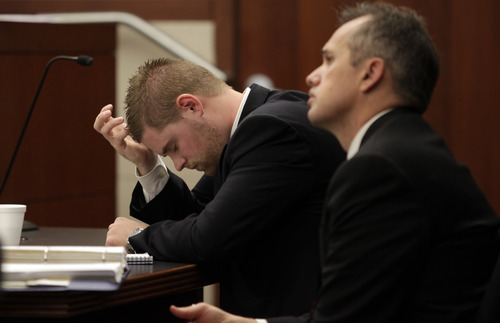 Kera Williams  |  Pool, Standard-Examiner  Skyler Shepherd listens to testimony from witnesses during his trial in the 2011 death of swimmer Esther Fujimoto at Pineview Reservoir at 2nd District Court in Ogden on Tuesday, December 11, 2012.