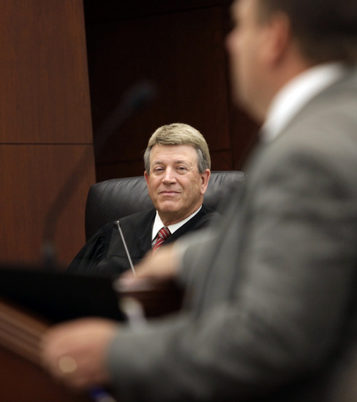 Kera Williams  |  Pool, Standard-Examiner  Second District Judge Ernie W. Jones listens to testimony during Skyler Shepherd's trial in fatal 2011 accident at Pineview Reservoir on Tuesday, December 11, 2012.