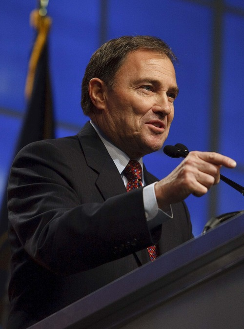 Leah Hogsten  |  Tribune file photo Utah Gov. Gary Herbert during the Utah Republican Party  nominating convention in April.  Herbert on Tuesday sent a letter to President Barack Obama asking for permission to keep the state's health insurance exchange marketplace as it is.