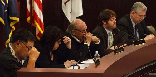 Leah Hogsten  |  The Salt Lake Tribune  The Salt Lake County Council held the first of two public hearings Tuesday in Salt Lake City on the proposed 2013 budget. The plan would raise property taxes for an average county homeowner by $59 a year.