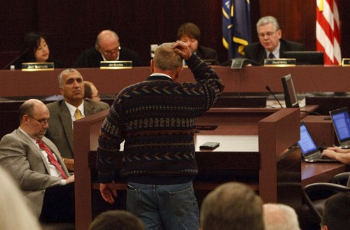 Leah Hogsten  |  The Salt Lake Tribune Some Salt Lake County residents, such as Gary Monk, were scratching their heads Tuesday night at the first hearing on the Salt Lake County's spending plan for 2013.