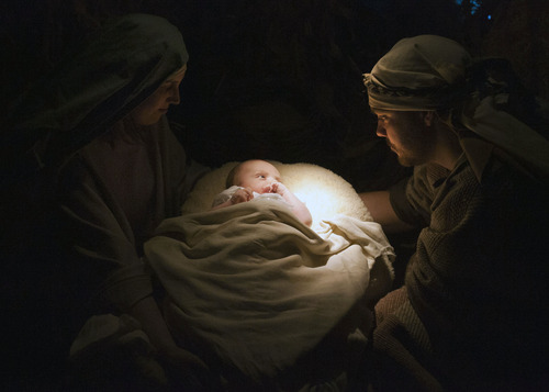 Steve Griffin | The Salt Lake Tribune Mary, Joseph and the Baby Jesus are illuminated by light during the living Nativity at the River View LDS Stake at 12100 S. 700 West, in Draper, Utah, on Wednesday, Nov. 28, 2012. Jeremy and Terra Gerritsen and their 2-month-old baby, Aaron, were one of several families playing the role of Mary, Joseph and Jesus.