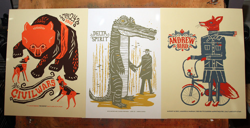Travis Bone is a local silkscreen artist who makes retro-style posters for up coming concerts.