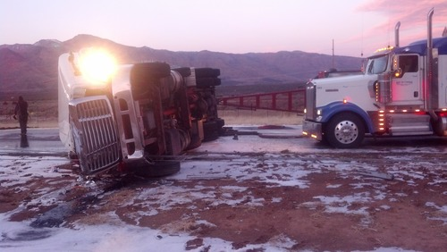 Wreckage at one of the semi crashes early Wednesday that closed down Interstate 15 in both directions in southern Utah. (UHP photo)