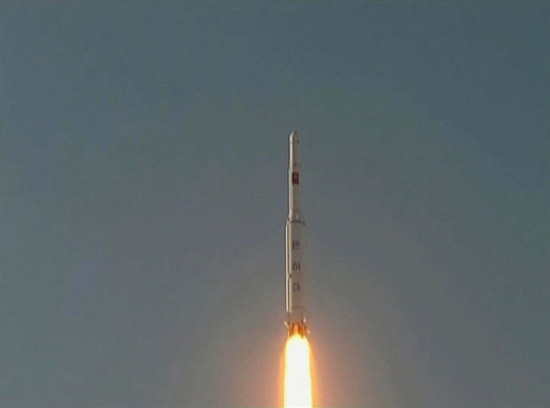 In this image made from video, a Unha-3 rocket is launched on the outskirts of Pyongyang, Wednesday, Dec. 12, 2012. A satellite that North Korea launched on board a long-range rocket is orbiting normally, South Korea said on Thursday, following a defiant lift-off that drew a wave of international condemnation. (AP Photo/KRT via AP Video)
