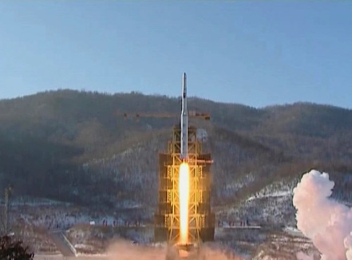 In this image made from video, North Korea's Unha-3 rocket lifts off from the Sohae launching station in Tongchang-ri, North Korea, Wednesday, Dec. 12, 2012. A satellite that North Korea launched on board the long-range rocket is orbiting normally, South Korea said on Thursday, following a defiant lift-off that drew a wave of international condemnation. (AP Photo/KRT via AP Video)
