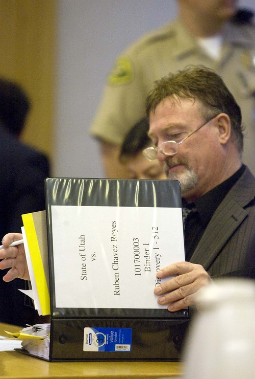 Paul Fraughton  |  Tribune file photo Defense attorney  Jim Slavens died Wednesday in a crash in Fillmore. In this June 2, 2010, photo, Slavens looks over a binder before a preliminary hearing for Ruben Chavez-Reyes in 4th District Court in Fillmore.