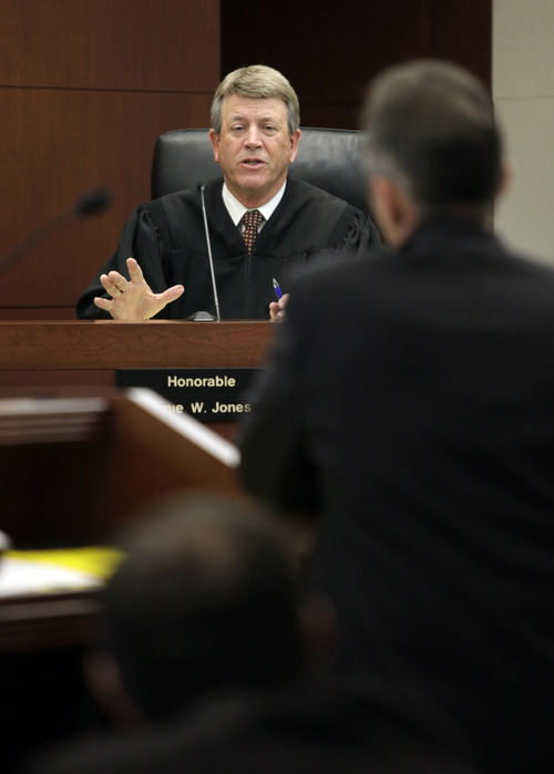 Judge Ernie W. Jones speaks to the defense attorney during the Skyler Shepherd trial at the 2nd District Court in Ogden on Thursday, December 13, 2012.  (KERA WILLIAMS/ Standard-Examiner)