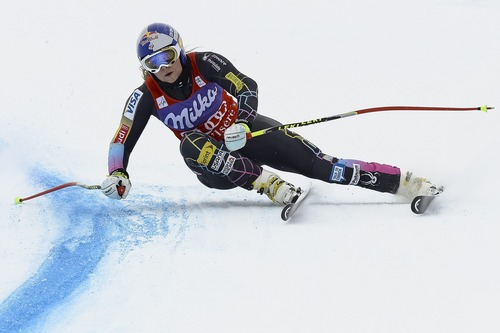 Lindsey Vonn of the USA, speeds down the hill  during the Women's Downhill training run at the FIS Alpine Ski World Cup in Val d'Isere, France, Thursday, Dec. 13, 2012. (AP Photo/KeystoneJean-Christophe Bott)