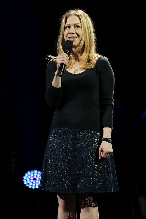 This image released by Starpix shows Chelsea Clinton speaking at the 12-12-12 The Concert for Sandy Relief at Madison Square Garden in New York on Wednesday, Dec. 12, 2012. Proceeds from the show will be distributed through the Robin Hood Foundation. (AP Photo/Starpix, Dave Allocca)