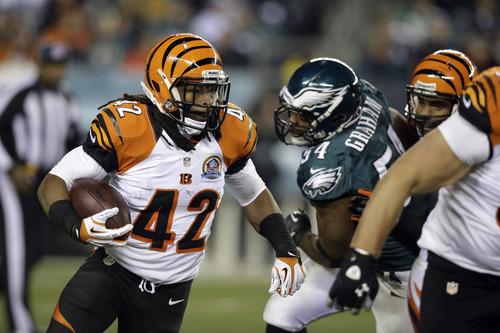 Cincinnati Bengals' BenJarvus Green-Ellis rushes in the first half of an NFL football game against the Philadelphia Eagles, Thursday, Dec. 13, 2012, in Philadelphia. (AP Photo/Mel Evans)