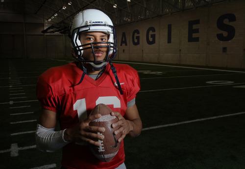 Rick Egan  | The Salt Lake Tribune  Despite the newfound fame and the adulation, Chuckie Keeton, Utah State's star sophomore quarterback, shows no hint of arrogance.