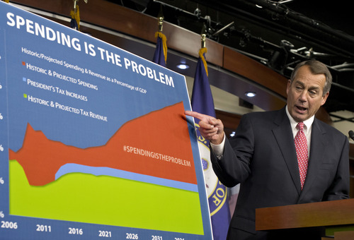 "House Speaker John Boehner of Ohio points to a chart to emphasize his talking point that government spending complicates the negotiations on avoiding the so-called ""fiscal cliff,"" during a news conference on Capitol Hill in Washington, Thursday, Dec. 13, 2012. Boehner is insisting that President Barack Obama wants far more in tax increases than spending reductions and appears willing to walk the economy ""right up to the fiscal cliff."" (AP Photo/J. Scott Applewhite)"