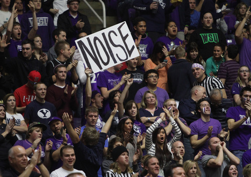Rick Egan    The Salt Lake Tribune   Weber State Wildcat fans cheer as the Wildcats close in on BYU in the second half, in basketball action, BYU vs. Weber State, in Ogden, Saturday, December 15, 2012.