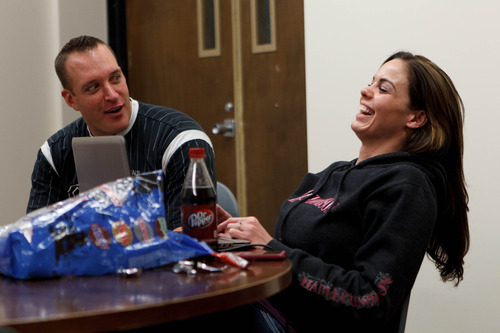 Trent Nelson  |  The Salt Lake Tribune Eric Carver and Jen Comer study for a test at Weber State in Ogden Wednesday December 12, 2012