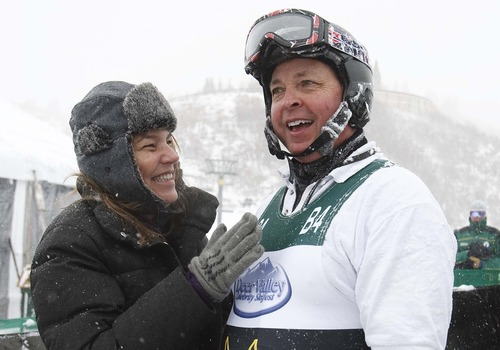 Leah Hogsten  |  The Salt Lake Tribune Director Bobby Farrelly is congratulated after his last run at the Deer Valley Celebrity Skifest Saturday, December 8, 2012.