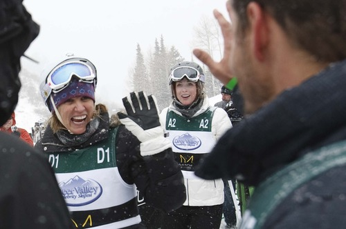 "Leah Hogsten  |  The Salt Lake Tribune Actor Dylan Bruno of ""Grey's Anatomy"" congratulates activist Kerry Kennedy and actress Diane Neal after the final run at the Deer Valley Celebrity Skifest Saturday, December 8, 2012."