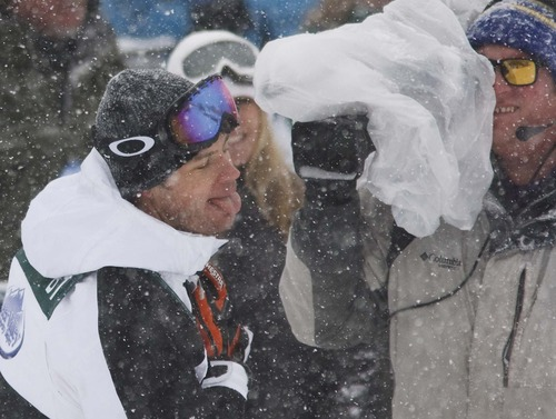 "Leah Hogsten  |  The Salt Lake Tribune Actor Trevor Donovan of ""90210"" catches snowflakes on his tongue after his first run at the Deer Valley Celebrity Skifest Saturday December 8, 2012."