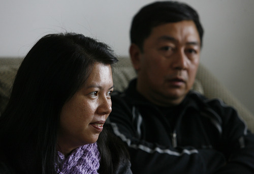 Scott Sommerdorf     The Salt Lake Tribune               The Phan family, Phuong Tran, left, and Nhuan Phan speak out for first time, Saturday, December 15, 2012 about the suicide of their son, David Phan, on Nov. 29 at Bennion Junior High.