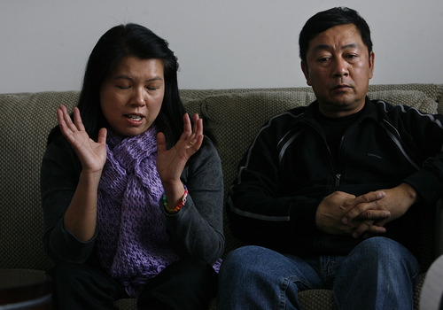 Scott Sommerdorf  |  The Salt Lake Tribune               Phuong Tran, mother of David Phan, left, describes her frustration with school administrators as she described the day David was suspended from school, and her attempts to find out why. Her husband, Nhuan Phan is at right. The Phan family spoke out for first time, Saturday, December 15, 2012 about why 14-year-old David Phan committed suicide on Nov. 29 at Bennion Junior High.