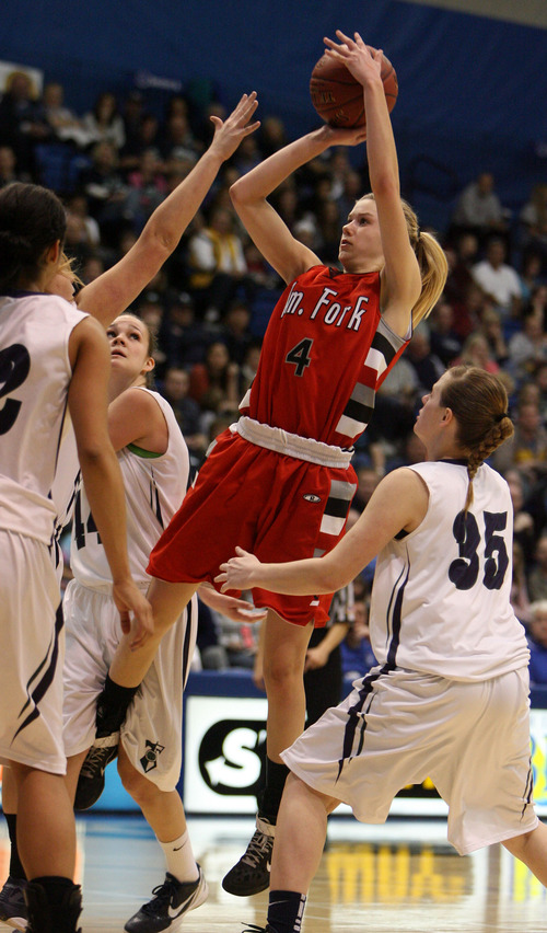Steve Griffin  |  The Salt Lake Tribune  American Fork's Ashley Baugh shoots a jumper during 5A semifinal girl's basketball game between Syracuse and American Fork at the Salt Lake Community College in West Valley City, Utah  Friday, February 24, 2012.