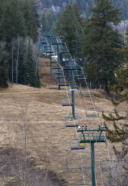 Steve Griffin | The Salt Lake Tribune  The ski lifts at Sundance are idle as the resort waits for more snow to open the Provo Canyon resort on Thursday, Dec. 6, 2012. A new report warns that global warming will make low-snow years more prevalent and batter the ski industry.