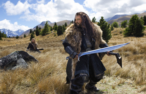 """(L-r) DEAN O'GORMAN as Fili and RICHARD ARMITAGE as Thorin Oakenshield in the fantasy adventure  """"The Hobbit: An Unexpected Journey."""""""