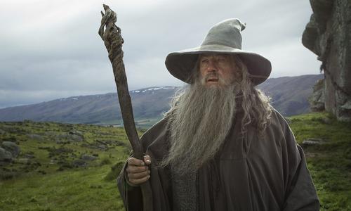 "Ian McKellen as the Wizard Gandalf the Grey in the fantasy adventure  ""The Hobbit: An Unexpected Journey."""