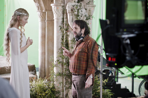 """(L-r) CATE BLANCHETT and director PETER JACKSON on the set of the fantasy adventure  """"The Hobbit: An Unexpected Journey."""""""