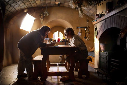 """(L-r) Director PETER JACKSON and MARTIN FREEMAN on the set of the fantasy adventure  """"The Hobbit: An Unexpected Journey."""""""