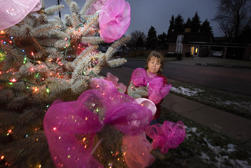 Paul Fraughton  |   The Salt Lake Tribune Annie Graham,  a neighbor of the  Parker family,  hangs pink bows on the pine tree decorated with Christmas lights in her front yard. Other friends and neighbors of the Parkers  spread out over their Ogden neighborhood Monday night  hanging pink ribbons  to commemorate  young Emilie Parker, who was one of the children killed in the shooting at the Connecticut  elementary school.