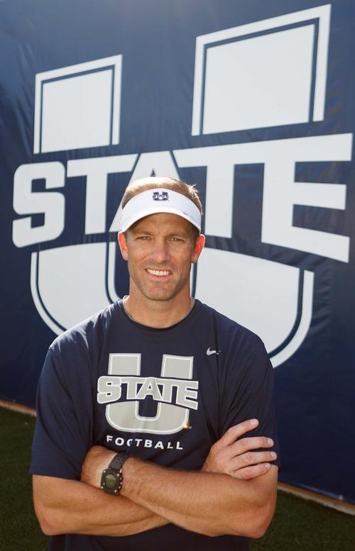 Trent Nelson  |  The Salt Lake Tribune Utah State University's new offensive coordinator Matt Wells in Romney Stadium in Logan, Utah Wednesday, August 22, 2012.