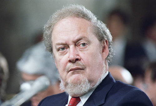 Robert Bork, served as Solicitor General, acting Attorney General, and judge for the U.S. Court of Appeals for the District of Columbia Circuit.  In 1987, he was nominated to the Supreme Court by President Ronald Reagan, but the Senate rejected his nomination.     Bork is shown in 1987 photo.     (AP Photo)