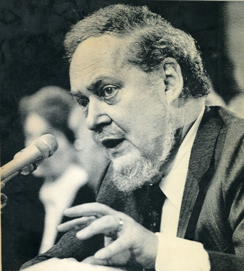 Supreme Court nominee Robert Bork testifies befor the Senate Judiciary Committee  during a record fifth day of confirmation hearings. AP photo, 1987.