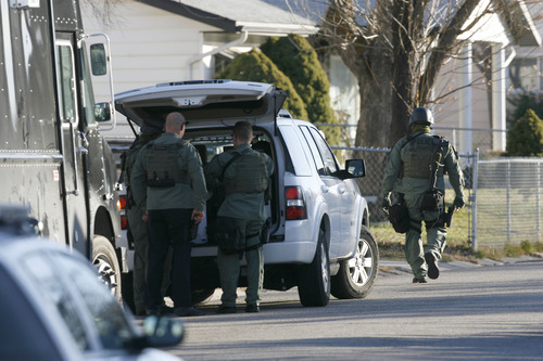 Francisco Kjolseth  |  The Salt Lake Tribune West Valley City police evacuate a 2-3 block area surrounding 3150 S. Cantwell St. (2910 West), as they deal with a suspect who reportedly fired a gun during a standoff at a home.