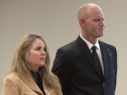 Steve Griffin | The Salt Lake Tribune   Choking back tears, Eric Charlton, who pled guilty to accidentally fatally shooting his brother in the head during a camping trip, listens with his attorney Susanne Gustin, during his sentencing hearing in 4th District Court in Nephi, Utah Thursday December 20, 2012.  I
